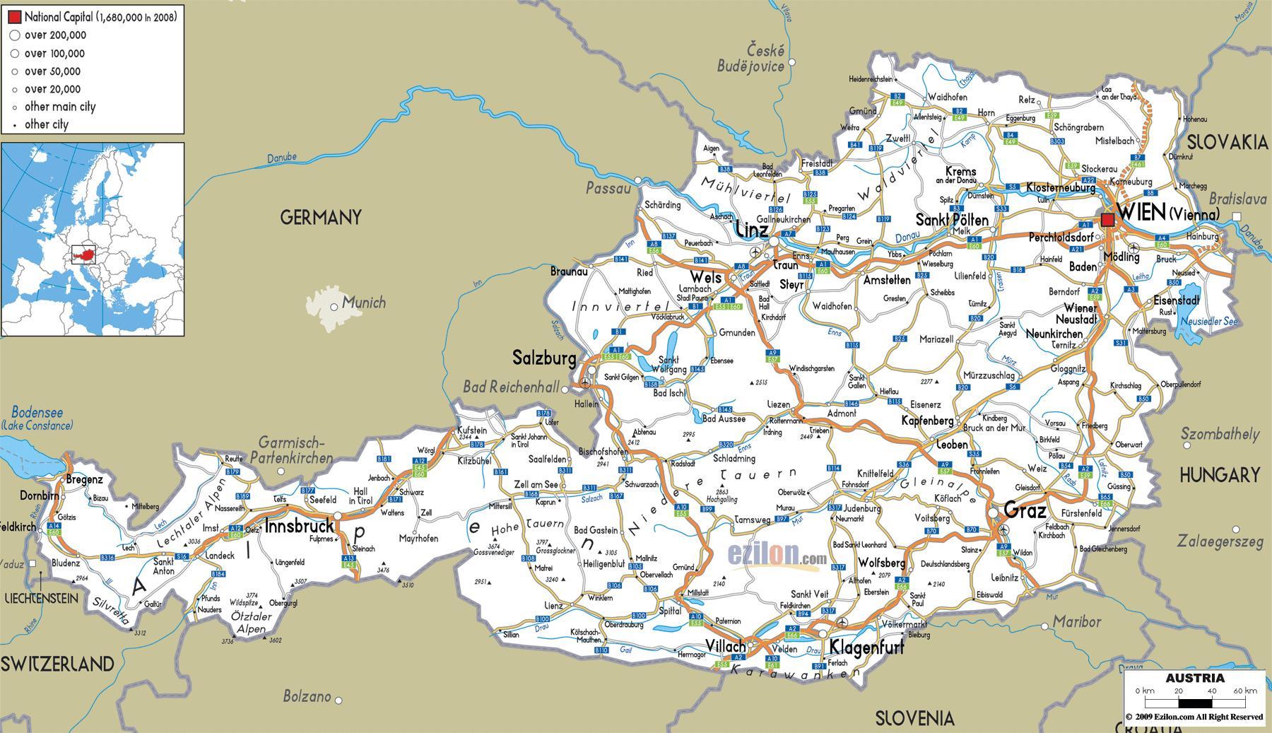Cartina Del Austria.Austria Citta Mappa Cartina Mappa Dell Austria Con La Citta Europa Occidentale Europa