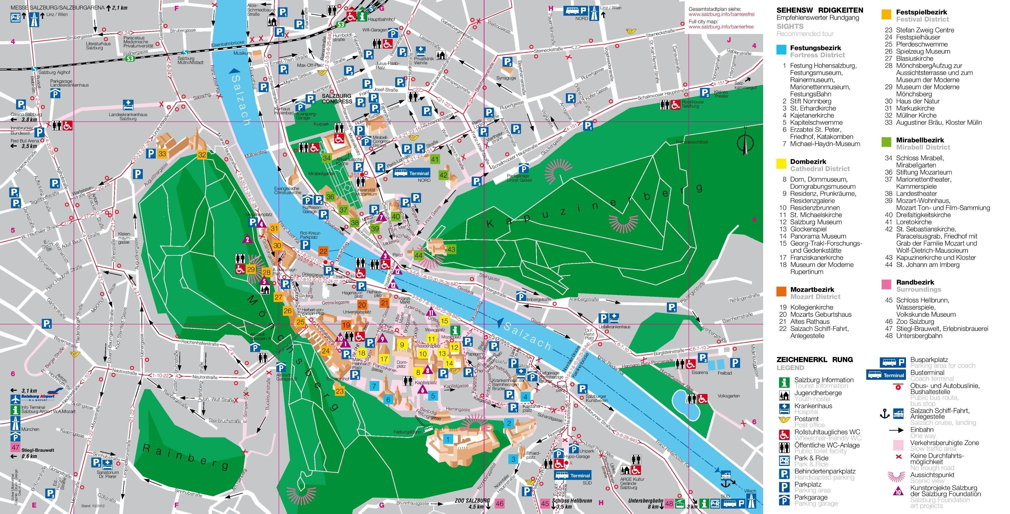 Austria Cartina Turistica.Mappa Turistica Di Salisburgo Austria Mappa Della Mappa